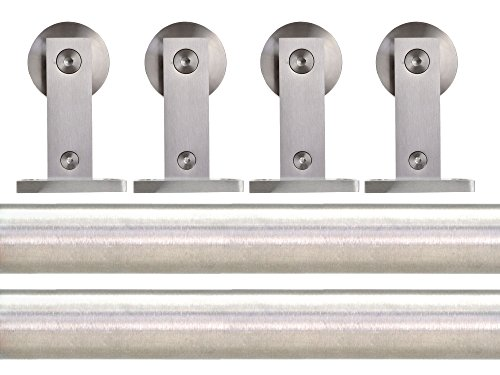 TMS 8FT Satin Stainless Steel Double Sliding Barn Wooden Door Hardware Set by TMS