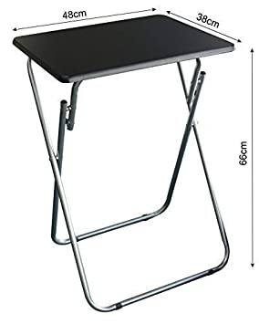 eHemco Set of 2 Folding Tv Trays Tv Tables – Black Tops