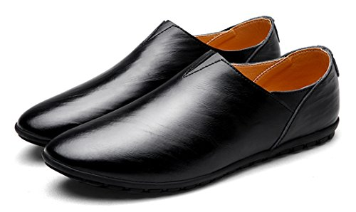 Tda Mens Slip-on In Pelle Casual Driving Walking Penny Mocassini Scarpe Da Barca Nere