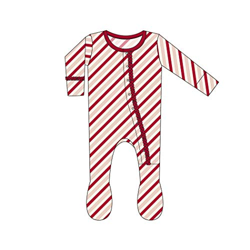 - Kickee Pants Little Girls Holiday Print Muffin Ruffle Footie with Snaps - Rose Gold Candy Cane Stripe, 9-12 Months