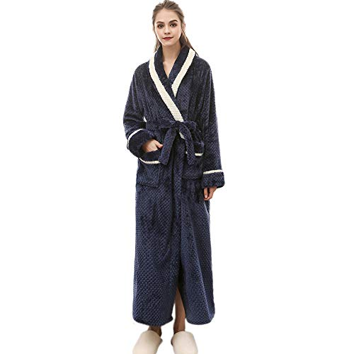 Clearance Sales Christmas Unisex Winter Plush Shawl Bathrobe Lengthened Thicken Kimono Robe Homewear Soft Sleepwear (Navy, ()