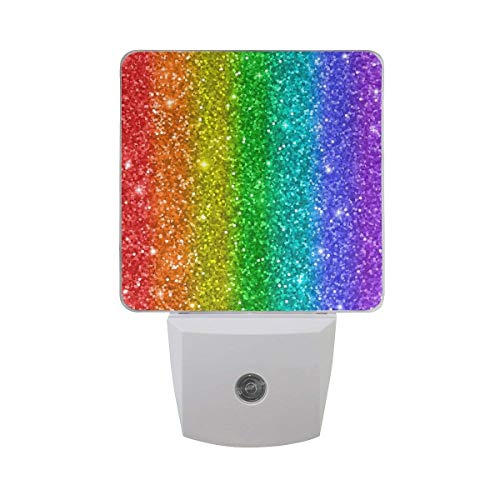- Yongxiafdknight 2 Pack Goodnight Bling Rainbow Vertical Stripe Pattern LED Night Light Dusk to Dawn Sensor Plug in Designs Indoor Home Decor for Adult Kids Baby Children
