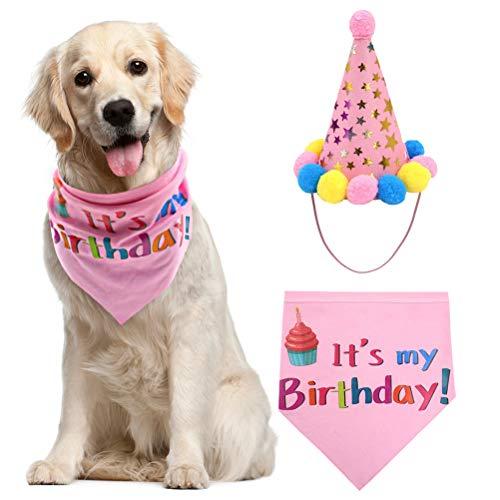PUPTECK Dog Birthday Bandana Scarfs with Cute Girl Doggie Birthday Party Hat ()