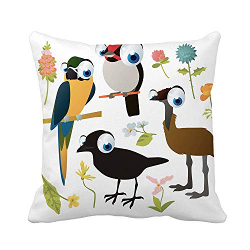 Awowee Throw Pillow Cover Cute Colorful Cartoon Birds and Flowers Collection Crow Emu 20x20 Inches Pillowcase Home Decorative Square Pillow Case Cushion Cover