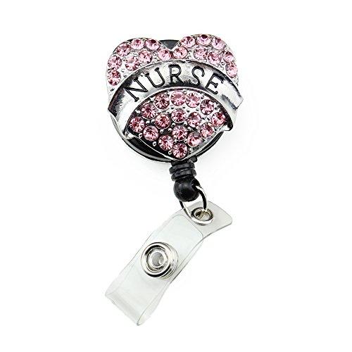 Pink Crystal Heart Shape Retractable Nurse Id Badge Holder Rhinestone Medical Badge Reel