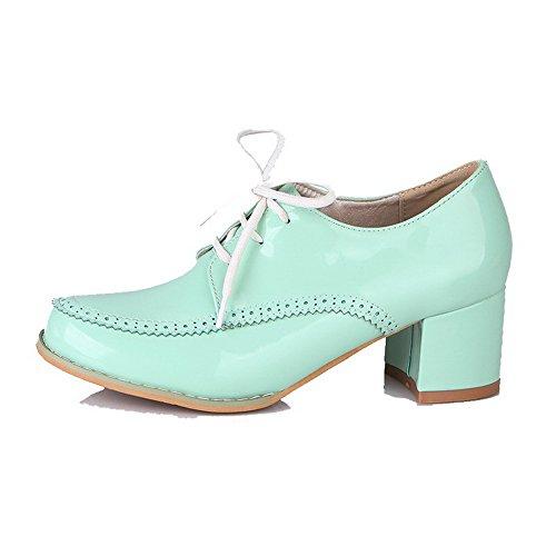 Mittler Schnüren Schuhe Rein Zehe Absatz VogueZone009 Damen Grün Lackleder Pumps Rund tfOwxyZPyq