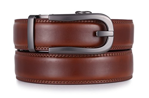 Umber Pull (Mio Marino Ratchet Click Belts for Men - Mens Comfort Genuine Leather Dress Belt - with Automatic Buckle, Enclosed in an Elegant Gift Box - Style 186 - Burnt Umber - Adjustable from 28