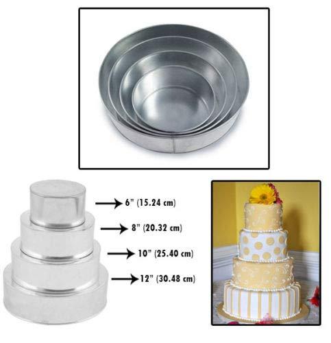 - Set of 4 Tier Round Multilayer Birthday/Wedding Anniversary Cake Tins/Cake Pans/Cake Moulds 6