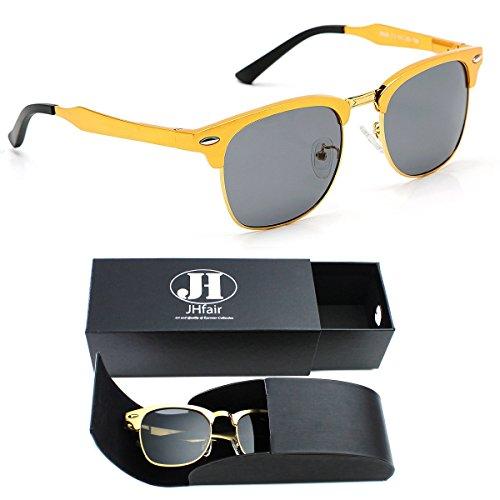 JHfair Clubmaster Wayfarer Half Frame Polarized Sunglasses for Women - Sunglasses Wayfarer 47mm Small
