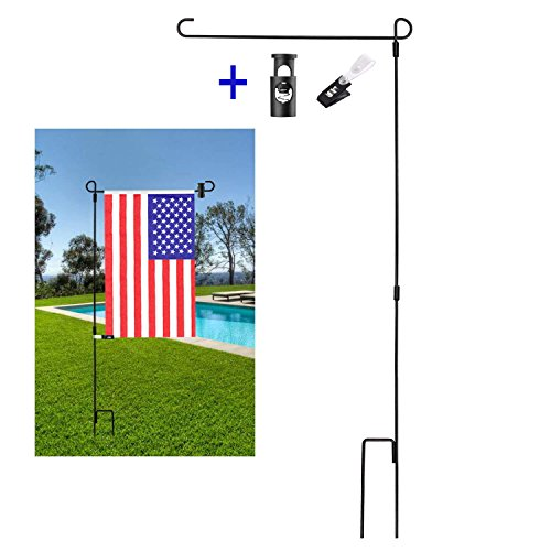 (BonyTek Garden Flag Stand Flagpole, Black Wrought Iron Small Flag Stand for Yard Garden Flag Pole Flag Holder with Garden Flag Rubber Stopper and Anti-Wind Clip - 36.22