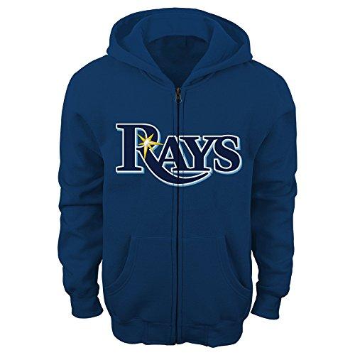 Mlb Hooded Sweatshirt (OuterStuff MLB Tampa Bay Rays Youth Boys 8-20 Full Zip Fleece-M (10-12), Athletic Navy)