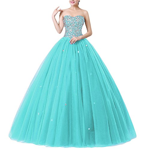 MonaBridal Women's Beaded Quinceanera Dresses Ball Gown Long Prom Dresses Wedding Dress Tiffany Blue 2