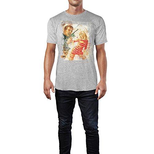 SINUS ART® Boom Boom Herren T-Shirts stilvolles hellgraues Cooles Fun Shirt mit tollen Aufdruck