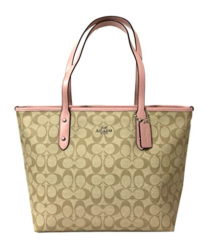 Coach City Zip Tote In Signature Canvas Khaki Carnation