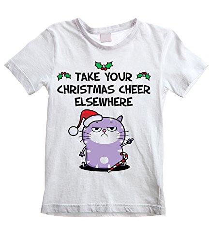 Christmas Cheer Bah Humbug Cat Kid's \ Children's T-Shirt (9 To 10, White)