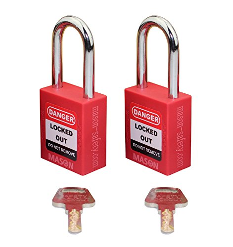 (Mason Lockout Tagout 2 PACK KEYED ALIKE Safety Lockout Padlock, Red LOTO)