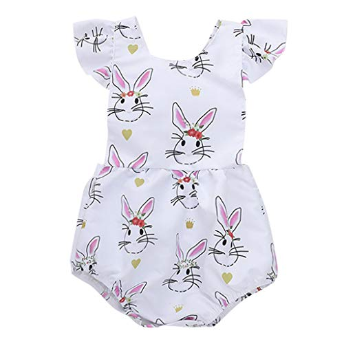 NUWFOR Newborn Infant Baby Girl Cartoon Floral Rabbit Print Romper Bodysuit Clothes (White,0-6 Months) by NUWFOR (Image #6)