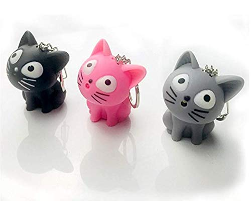 LED Cute kitty Cat Keychain with sound and flashlight lover gift child Toy-3 pack (Animal Friends Keychain)