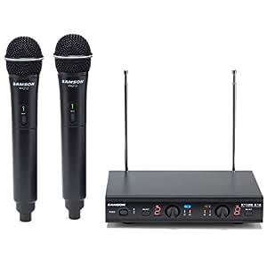 samson stage 212 dual vhf handheld wireless microphone system w 2 q6 mics black. Black Bedroom Furniture Sets. Home Design Ideas