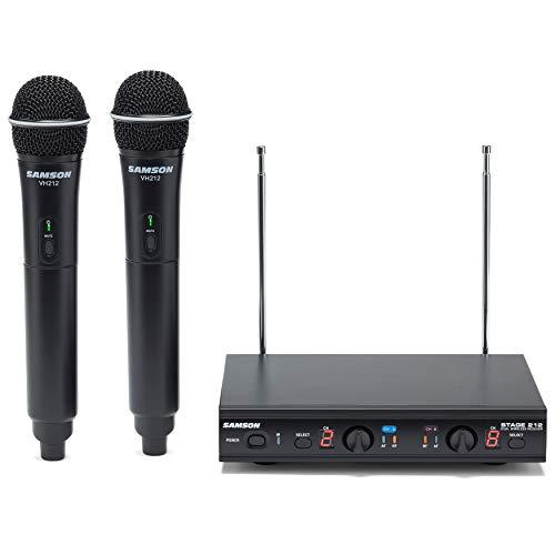 Samson Stage 212 Dual VHF Handheld Wireless Microphone System w (2) Q6 Mics, Black, 12
