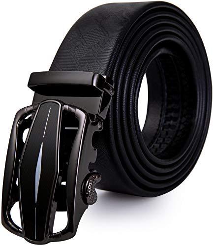 Mens Gold Buckle Belt,YOHOWA Cowhide Belt Automatic Ratchet Buckle Black Holeless for Jeans/Suit Gift Box (Black 14) (Cowhide Buckle)