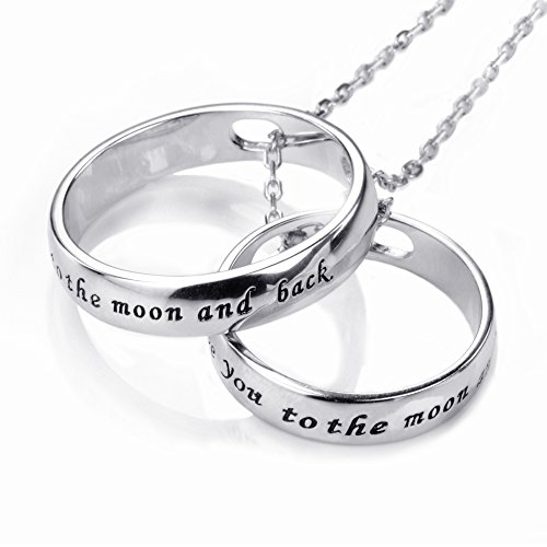 """Apotie """" I Love You To The Moon and Back """" 925 Sterling Silver Romantic Rings Charms Love Two-Circle Pendant Necklace Christmas Gifts Jewelry Long Chain for Women"""