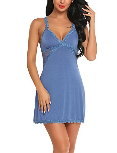 ADOME Women's Sexy Modal Nightgown Chemise Full Slip Nightie Dress Blue, Blue, Medium Dress Chemise