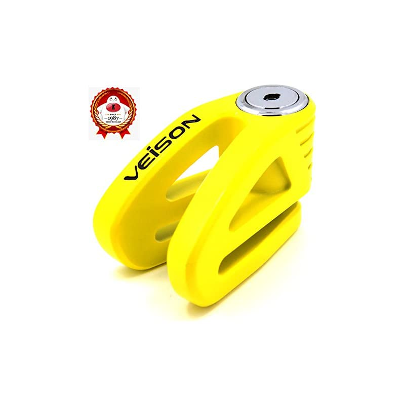Acekit Veison Bicycle And Motorcycle Brake Disc Lock Heavy Duty Strengthen Body Sawing Resistant With Four Ribs 6mm Harden Lock Pin With Remind Cable-Yellow