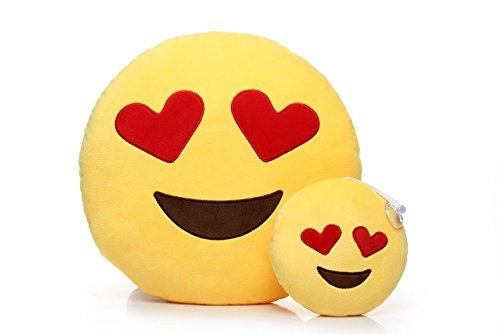 Ignislife Pair of Cute Emoji Pillows Heart-eyes Plush Toys Decorative Pillows 14 x 14 Inch