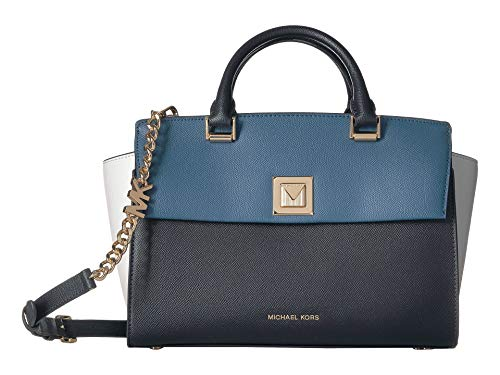 MICHAEL Michael Kors Sylvia Large Tri-Color Crossgrain Leather Satchel Bag, Admiral Cream ()