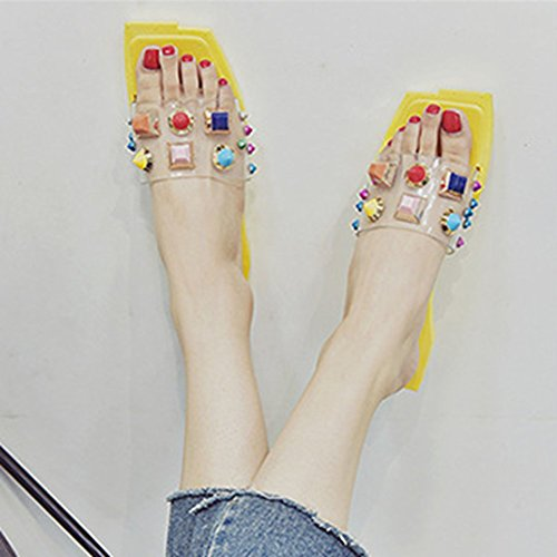 Square Colorful Flat Womens on Yellow T Sandals Platform Ladies Slides Toe Dressy Slip Fashion Rivets JULY Studded Bohemia 8wgxwP0q