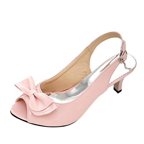Fashion Women's Sandals High Heels Belt Buckle Sandals Mallcas Summer Large Size Multicolor Bow Patent Leather Sandals ()