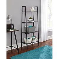 Sturdy 4-Tier Black Metal Bookcase/Organizer (65 lbs max per shelf)