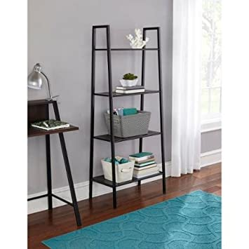 Sturdy 4-Tier Black Metal Bookcase Organizer 65 lbs max per shelf