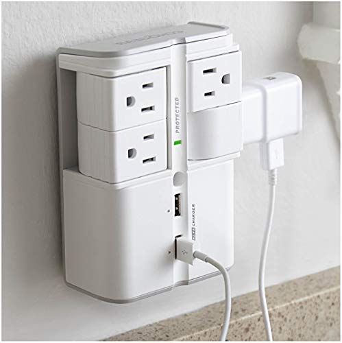 ECHOGEAR On-Wall Surge Protector with 4 Pivoting AC Outlets & 2 USB Ports – Packs 1080 Joules of Surge Protection & Installs On Existing Outlets to Protect Your Gear & Increase Outlet Capacity (Receptacle Flush Range)