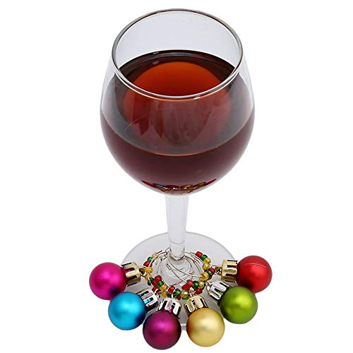 - Euone  Wine Rings, 6PCS Wine Glass Charms Rings Marker Christmas Party Bar Table Decorations