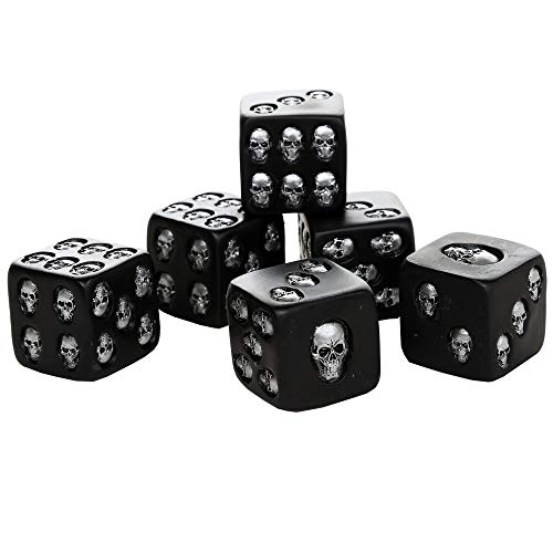 Pacific Giftware Decorative Black Skull Dice of Death 1.5 Inches Each Set of 6 (Renewed)