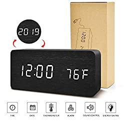 BlaCOG Digital Alarm Clock, Adjustable Brightness Voice Control Desk Wooden Alarm Clock, Large Display Time Temperature/Date/USB/Battery Powered for Home, Bedroom, Office, Kids Black/White