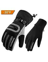 ROCKBROS Ski Gloves Snowmobile Skating Driving Winter Warm Thermal Fleece Snow Cold Weather Gloves For Men Women Black Medium