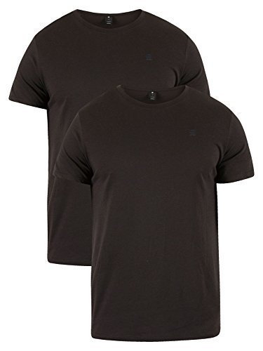 G-Star Raw Men's Base Heather Round Neck Tee Short Sleeve 2-Pack, Solid Black, Small