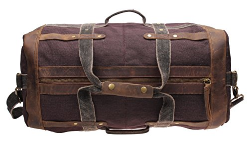 Iblue Weekend Bag Travel Duffel Bags For Men Canvas Carry On #B007(XL, coffee) by iblue (Image #3)