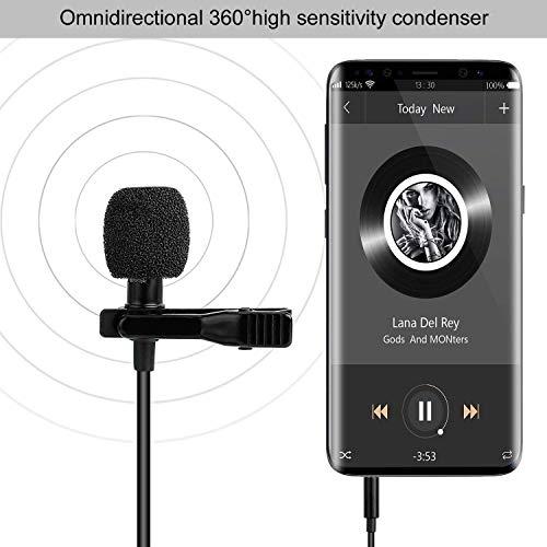 NOCXTUN Enraciner 3.5mm mic Clip Microphone for YouTube,TIK Tok Collar Mic for Voice Recording, Mobile, Pc, Laptop, Android Smartphones, DSLR Camera
