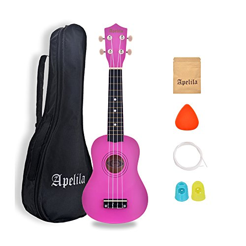 (Apelila 21 inch Soprano Ukulele Hawaiian Acoustic Mini Guitar Musical Instrument with Bag, Pick, Strings, for Beginner, Kid, Starter, Amateur (Pink))