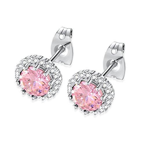 Earrings Pink & Topaz Garnet (Birthstone Earring, Birth stone Stud Earrings, Birthstone Jewelry, Copper Plated Cubic Zirconia Earrings for Girls Women (10/Pink Tourmaline/October))