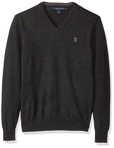 U.S. Polo Assn. Men's Stretch Fabric Solid V-Neck Sweater, Charcoal Heather, X-Large by U.S. Polo Assn.