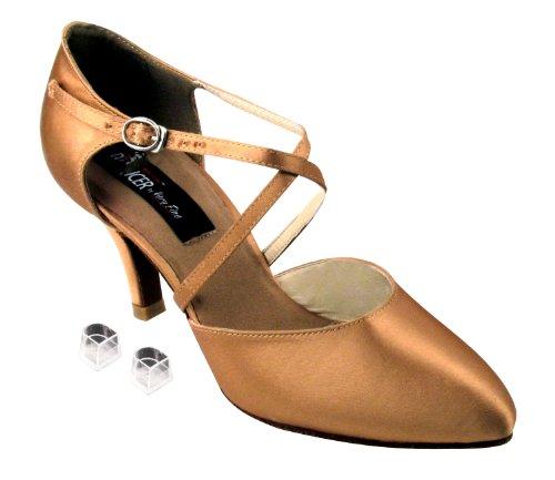 Très Bien Dames Femmes Chaussures De Danse De Salon Ekcd6017m Avec 2,5 Talon Tan Satin