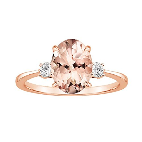 Egg Faux Morganite Rhinestone Inlaid Finger Ring Women Fashion Wedding...