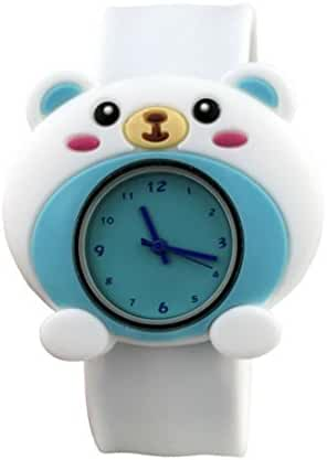 Cartoon Sky Blue Bear Unisex Kids Watch Water-resistant Sports Watch Bendable Rubber Strap Wrist Watch