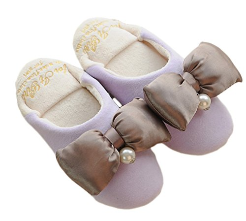 E.a@market Womens bowknot Plush Slipper Home Cute Princess Style Slipper Purple IzhOA