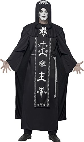 Black Robe Costume Uk (Smiffy's Adult Unisex Dark Arts Ritual Costume, Hooded Robe and Belt, One Size, 45571)